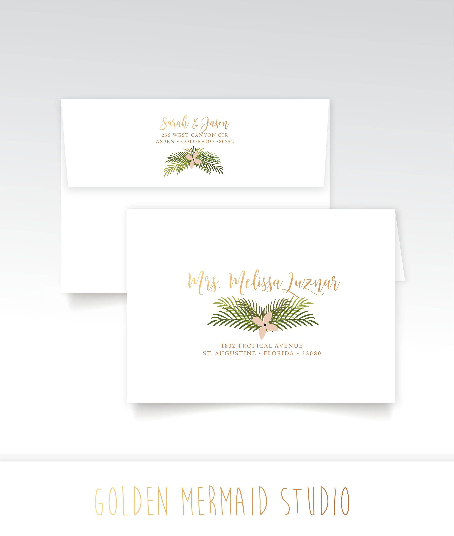 the fern  gold address printing  wedding rsvp envelopes