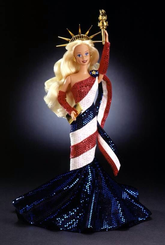 Barbie Doll wearing red white & blue gown Statue of Liberty | Statue ...