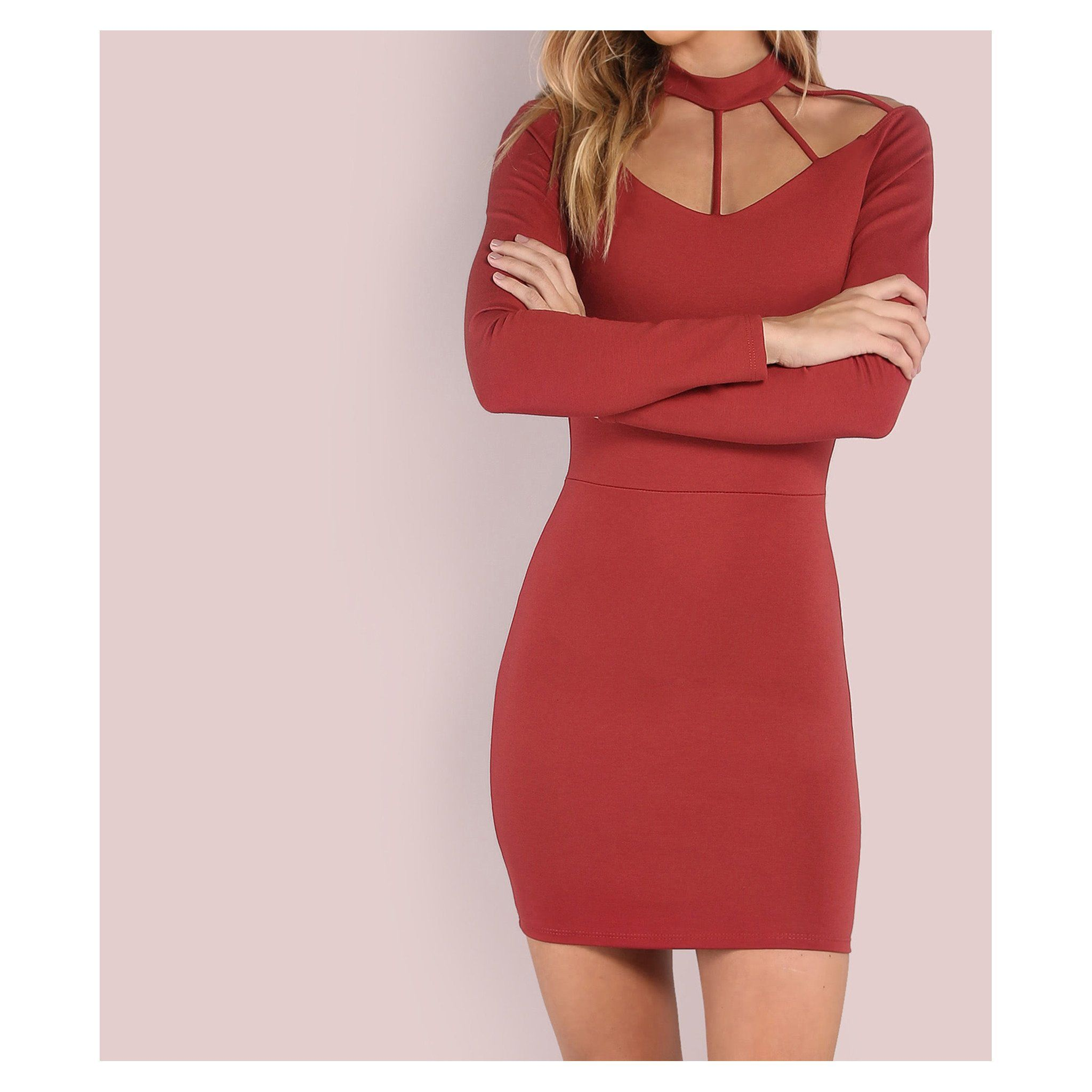 Rusty red long sleeve chocker strappy bodycon dress bodycon dress
