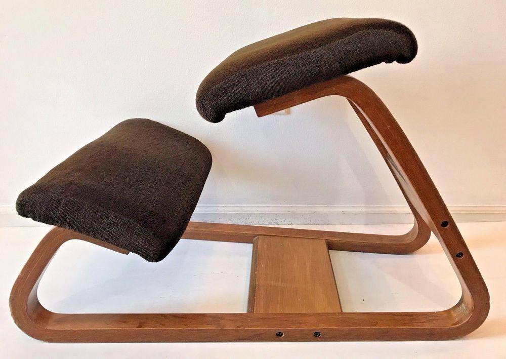 Vintage MCM Bent Oak Wood Brown Cushions Kneeling Desk Chair