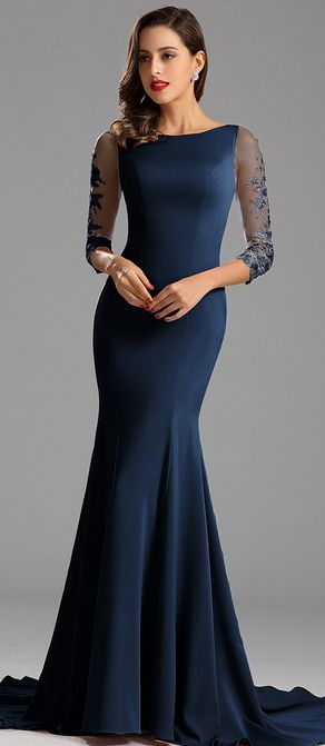 Graceful Half Sleeves Blue Formal Dress Evening Dress (26162305)
