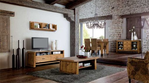 Salón comedor de estilo rustico con un diseño más moderno y actual ...