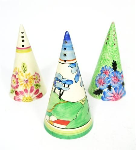 CLARICE CLIFF 'BLUE FIRS' PATTERN CONICAL SUGAR SIFTER, CIRCA 1933