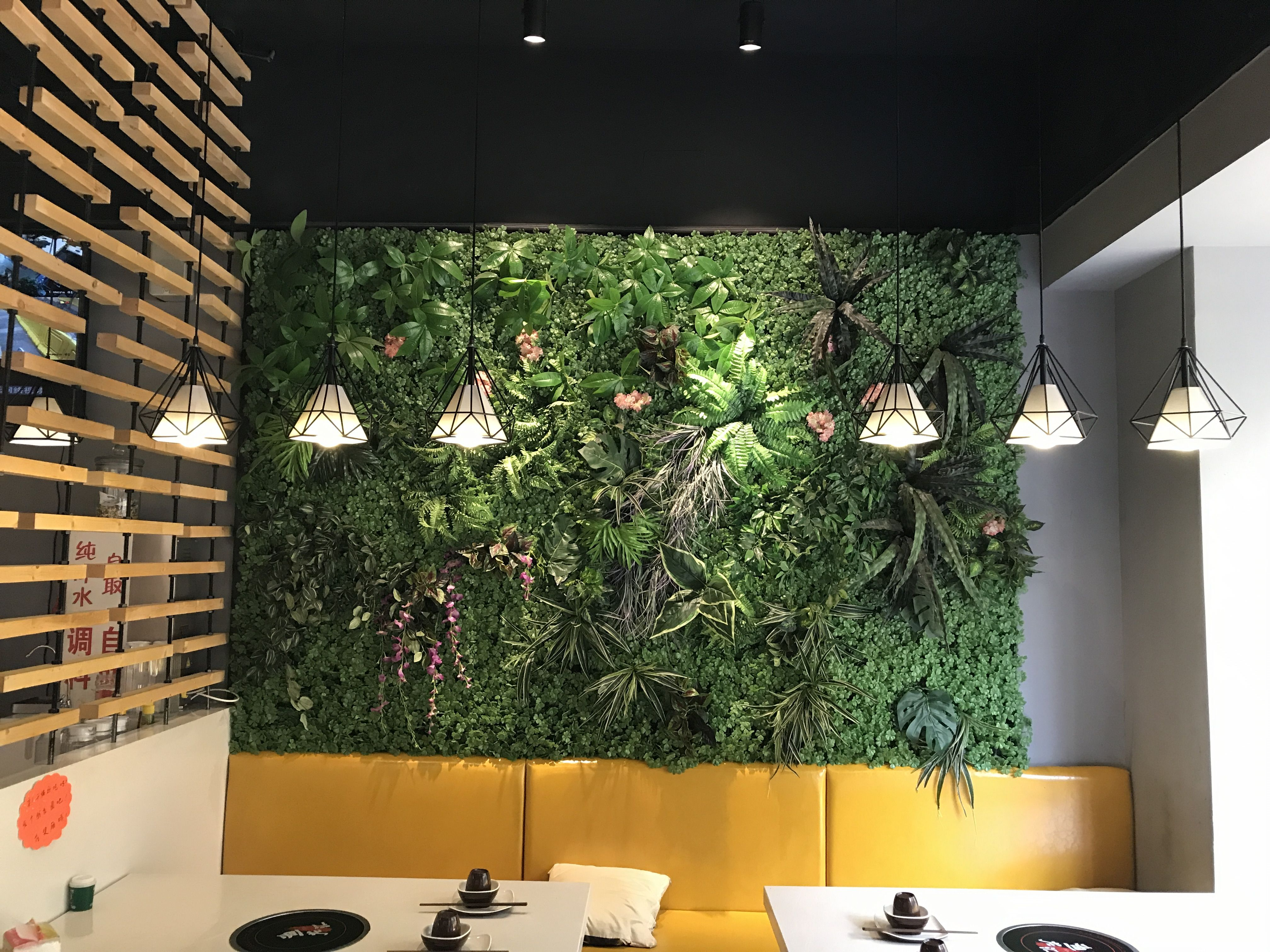 Check This Restaurant Interior Green Wall Decoration Idea Fully
