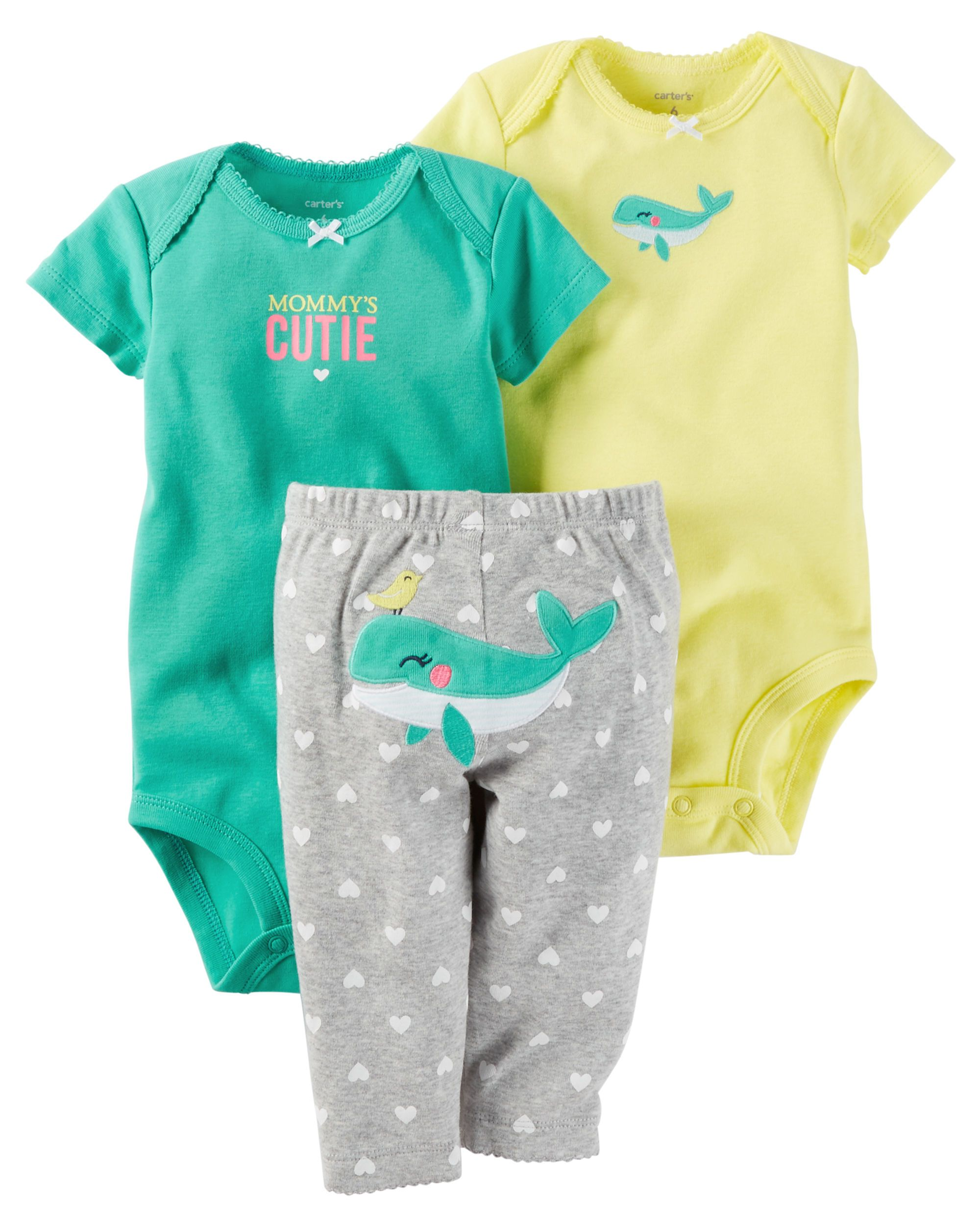 e0e895020f82 Baby Girl 3-Piece Little Character Set Featuring a cute little whale on the  bottom and two coordinating bodysuits, this babysoft cotton set lets her  mix and ...