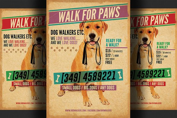 Dog Walkers Flyer Template 2 Dog Dog Walking And Pet Sitting Business