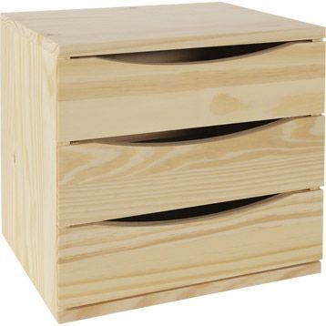 bloc modulable 3 tiroirs en pin brut leroy merlin 2750 unit hauteur du - Table De Chevet Leroy Merlin