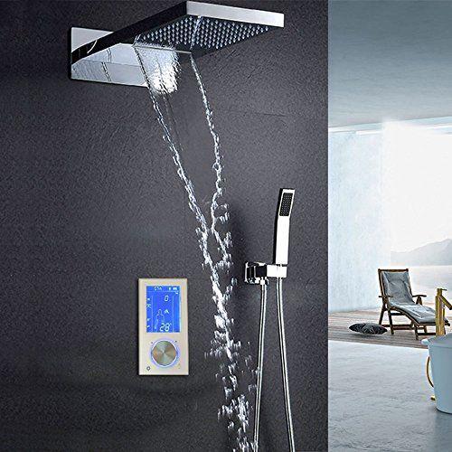 Hm Luxury 22 Digital Rectangular Waterfall Rain Shower 4 Function