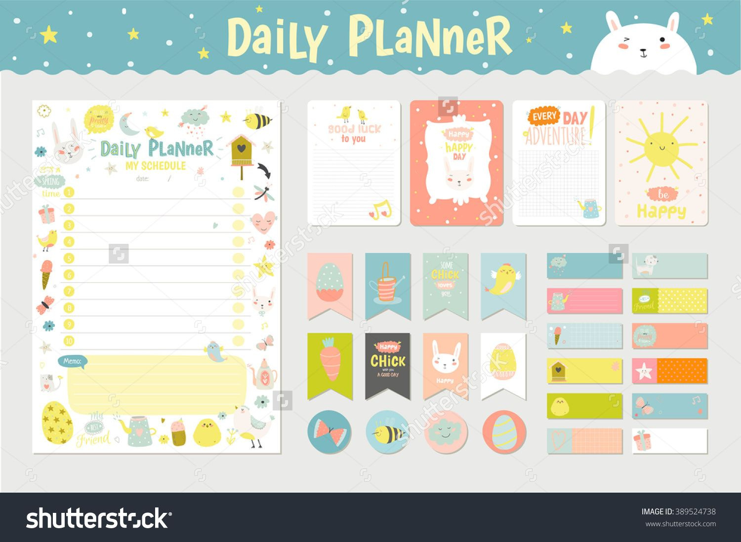 Pin by julia on daily planner pinterest planners cute calendar daily planner template for beautiful diary with vector character and funny kids illustrations pronofoot35fo Images
