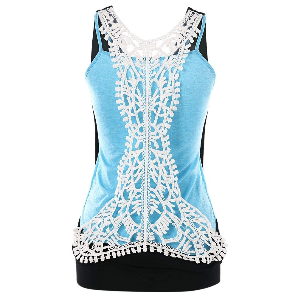 Sleeveless Crochet Back Panel Tank Top - Black - 3879847513 Size M #crochettanktops