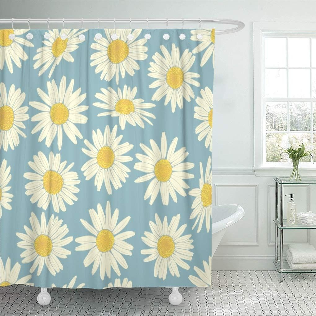 Yellow Daisy Floral Camomile Cute White Flowers Summer Fabrics