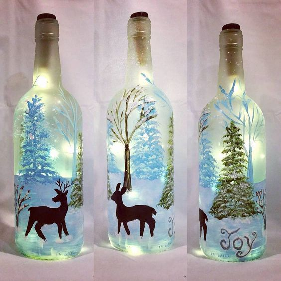 45 Incredible Wine Bottle Craft Ideas for a Useful Sunday is part of Christmas lights bottle, Lighted wine bottles, Christmas wine bottles, Painted wine bottles, Wine bottle crafts, Snowman wine bottle - Give a spin to your old wine bottles for transforming them into tasteful decorative pieces  Check out the wine bottle crafts collection here for novel ideas