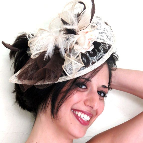 Cream Fascinator Animal Print Wedding Hat Feathers Flower Beauty On