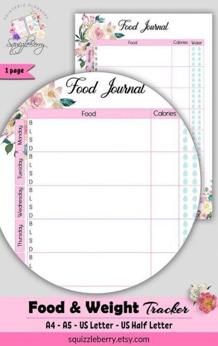 Fitness Planner Printable Free Food Journal Track 46 Ideas #food #fitness