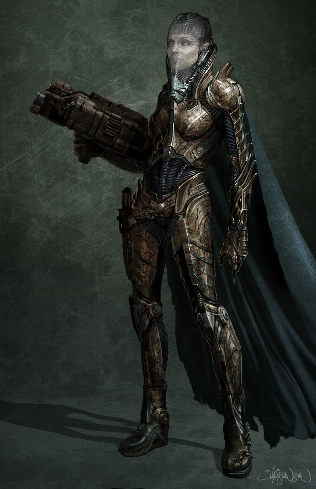 """Costume illustration for """"Faora-Ul"""" (Antje Traue) by Keith Christensen, from 'Man of Steel' 2013. Costume design by James Acheson and Michael Wilkinson."""