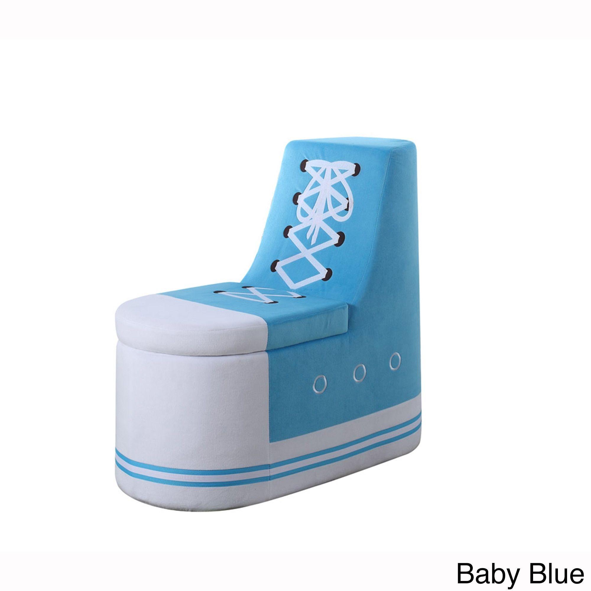 ORE Denim Sneaker Shoe Storage Ottoman (Baby Blue) (Polyester)