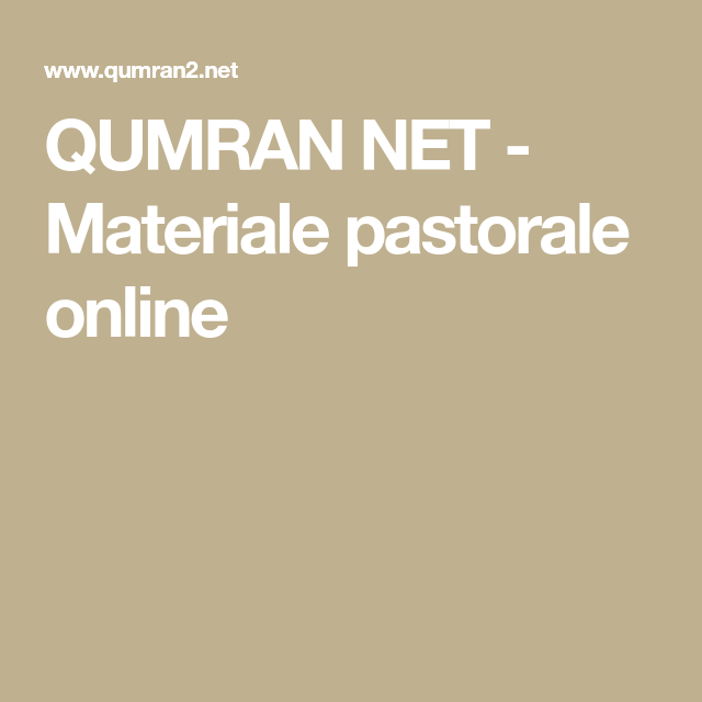 Calendario Liturgico Qumran.Qumran Net Materiale Pastorale Online Religione Segno