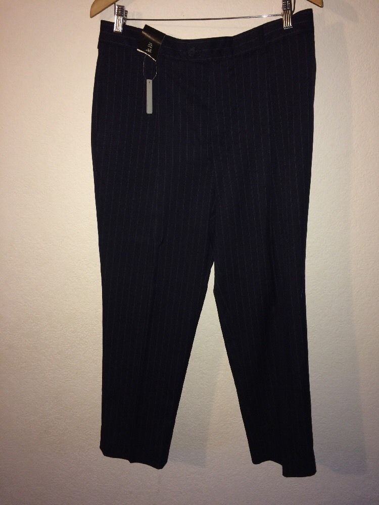 66f4c1ffd42 George Mens Smart Trousers Navy With stripe 34