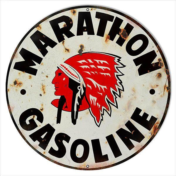 Marathon Indian Gas Station Sign, Vintage Aged Style Aluminum Metal Sign, 3 Sizes Available, USA Made Vintage Style Retro Garage Art RG is part of Metal signs - Marathon Indian Gas Station Sign   Aged Style Large Round  040 Aluminum This sign Has A Rivet  Made In The USA  3 Sizes To Choose From 18 x 18  RG709218 24 x 24 RG709224 30 x 30 RG709230 DESCRIPTION  Hand Made in the United States using the highest quality materials and the most durable procedures  The process used is known as sublimation, where the image is baked into a powder coating for a durable and long lasting finish  Just like the craftsmanship of the past, these products are durable and made to stand the test of time!  PLEASE NOTE Each of these are individually made to order in the USA  These are not mass produced  The average turn around time is 3 to 5 weekdays production, sometimes a little more, sometimes a little less  Please know that this is in addition to shipping & handing time for transit  These are not sitting on a shelf waiting to be shipped  We want you to be happy with your purchase and to understand fully the time frame involved  Made in the U S A  LICENSEE  Reedyville