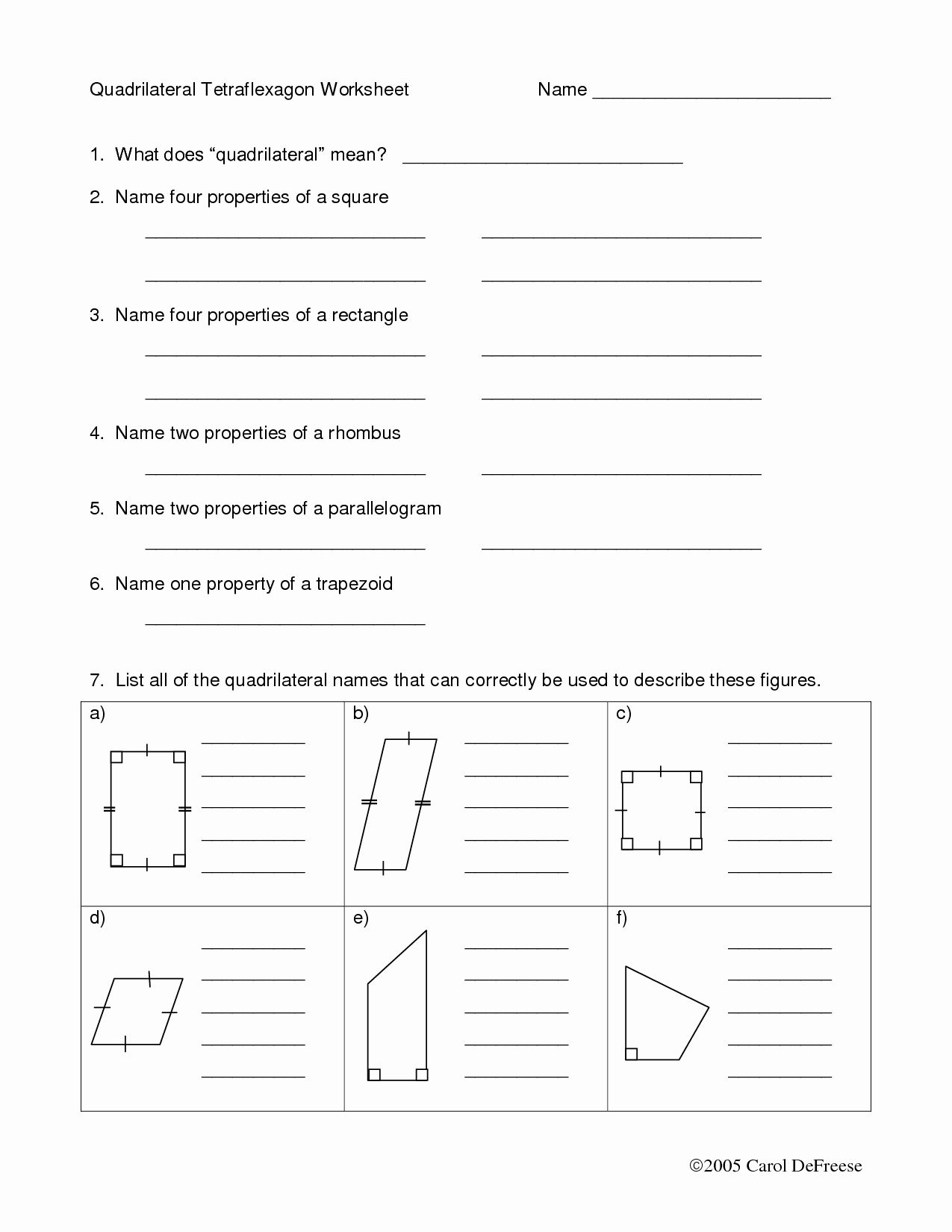 50 Properties Of Quadrilateral Worksheet In