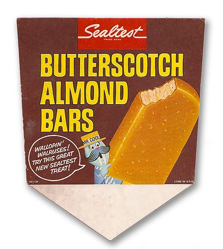 1964 Sealtest Butterscotch Almond Ice Cream Bars Store Display Sign w/ Mr. Cool,