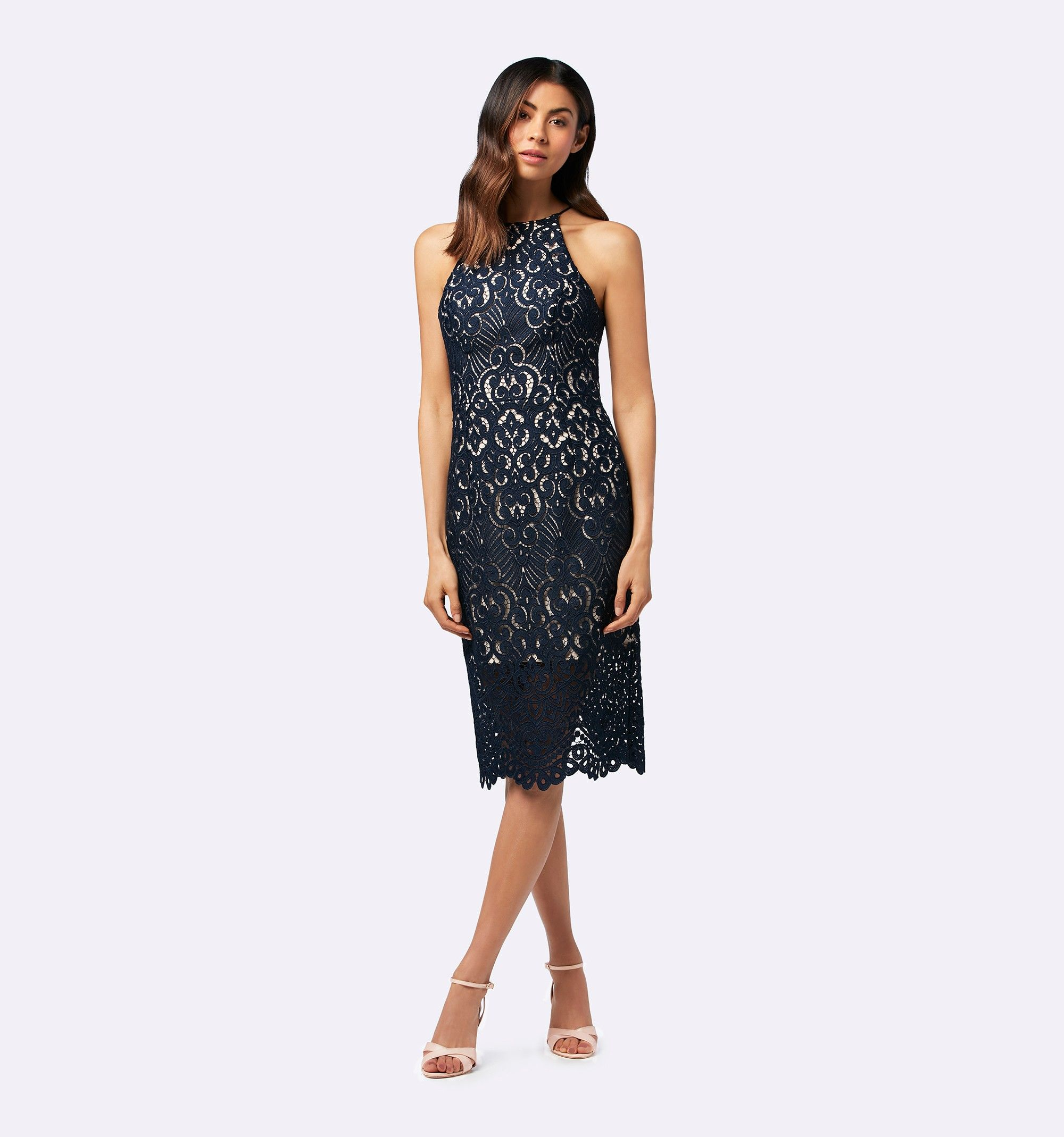Debbie lace pencil dress navy womens fashion forever new