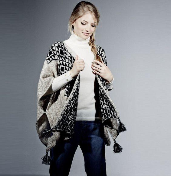 Un petit c t p ruvien pour ce poncho femme en jacquard tricot en 39 laine phil light 39 et - Explication pour tricoter un poncho femme ...