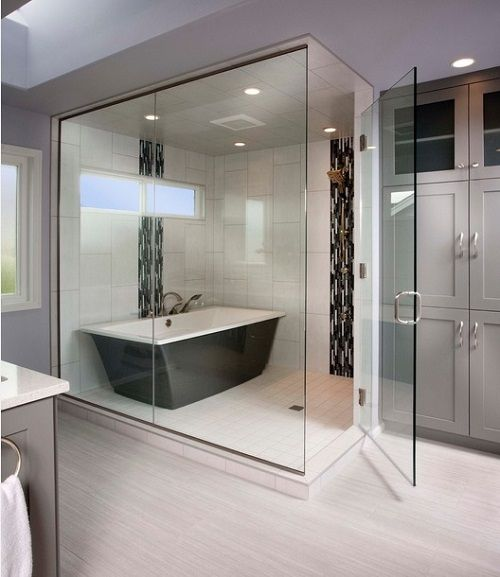 Enclosed Showers combining your bathtub within the enclosed shower will save on