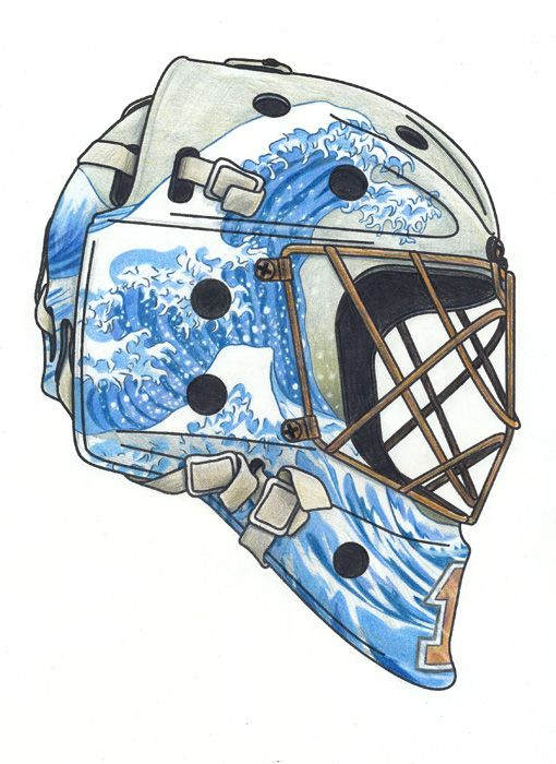 Grande Onda / Great Wave Litografia colorida a lápis - capacete de hóquei Lithography and colour pencils - hockey mask