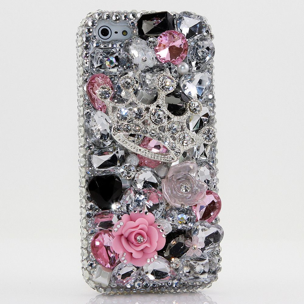 Bling Cases, Handmade 3D crystals Silver Crown design case for iphone 5, iphone 5s, iphone 6, Samsung Galaxy S4, S5, Note 2, Note 3, LG, HTC, Sony – LuxAddiction.com