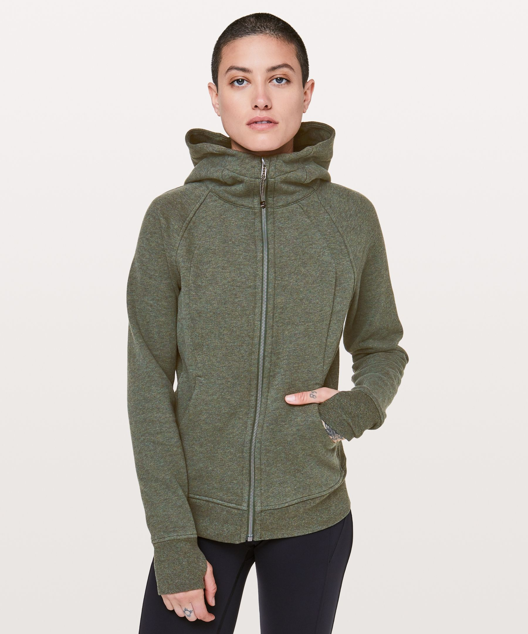 2b581a2e2abe Scuba Hoodie Light Cotton Fleece Heathered camo green
