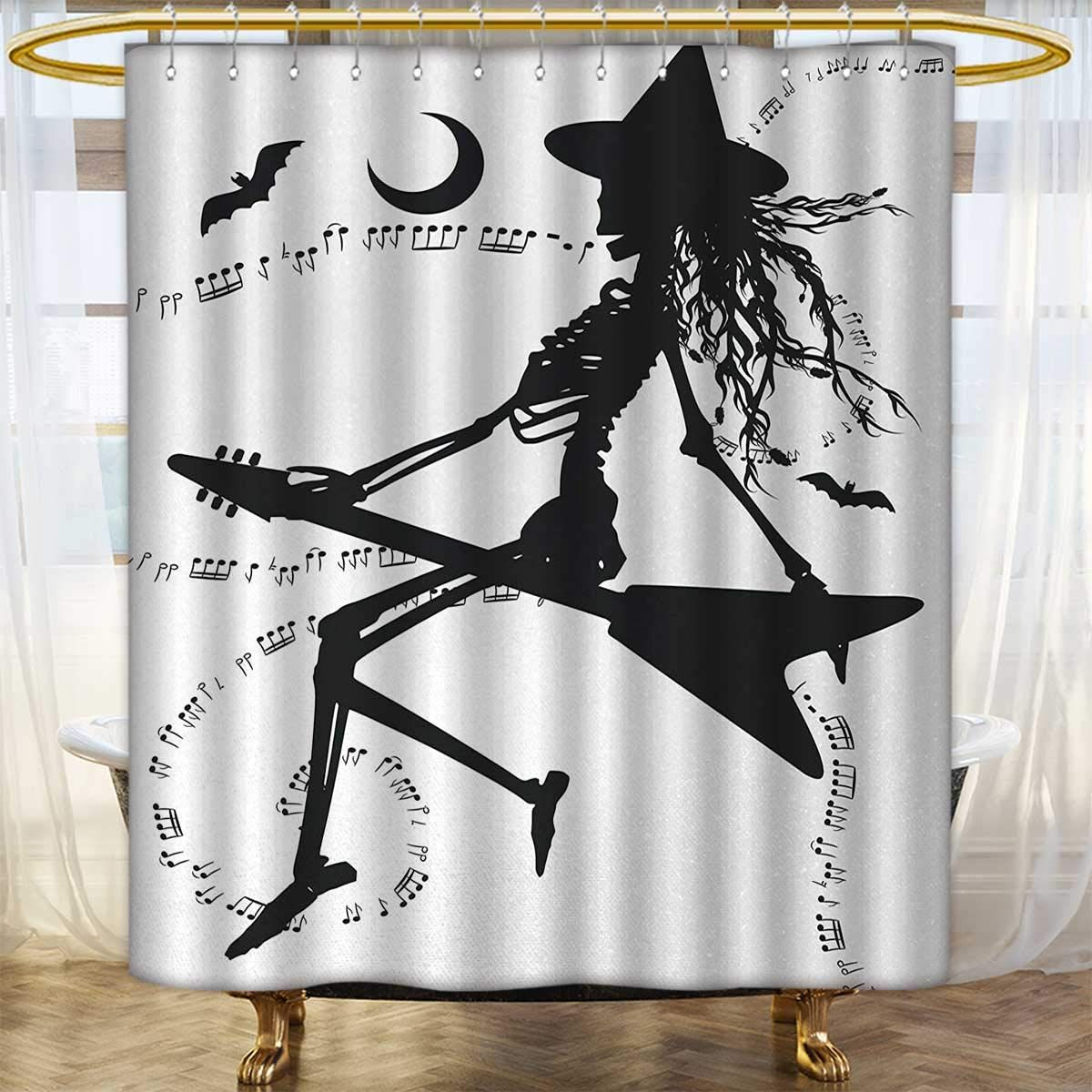 Anhounine Music Shower Curtains Sets Bathroom Witch Flying On