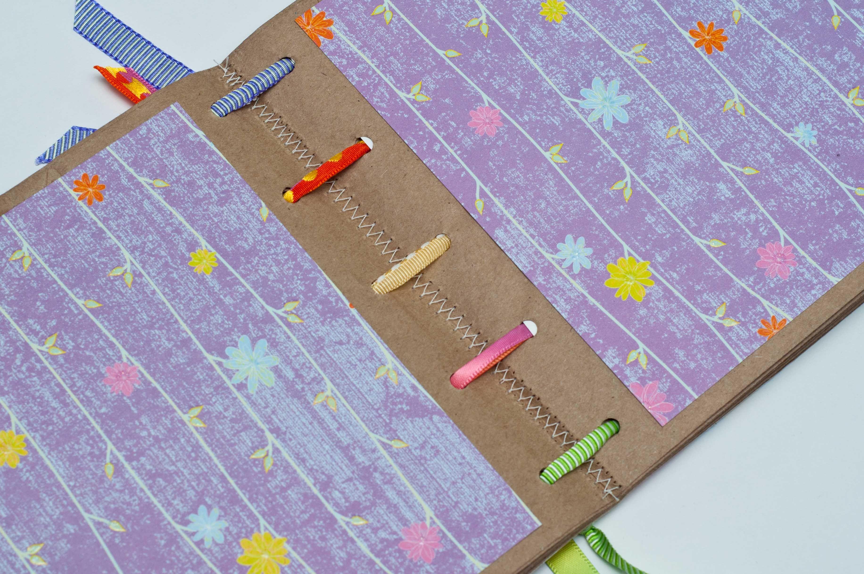 Diy Ribbon Book Cover : Diy book binding with ribbon notebooks paper