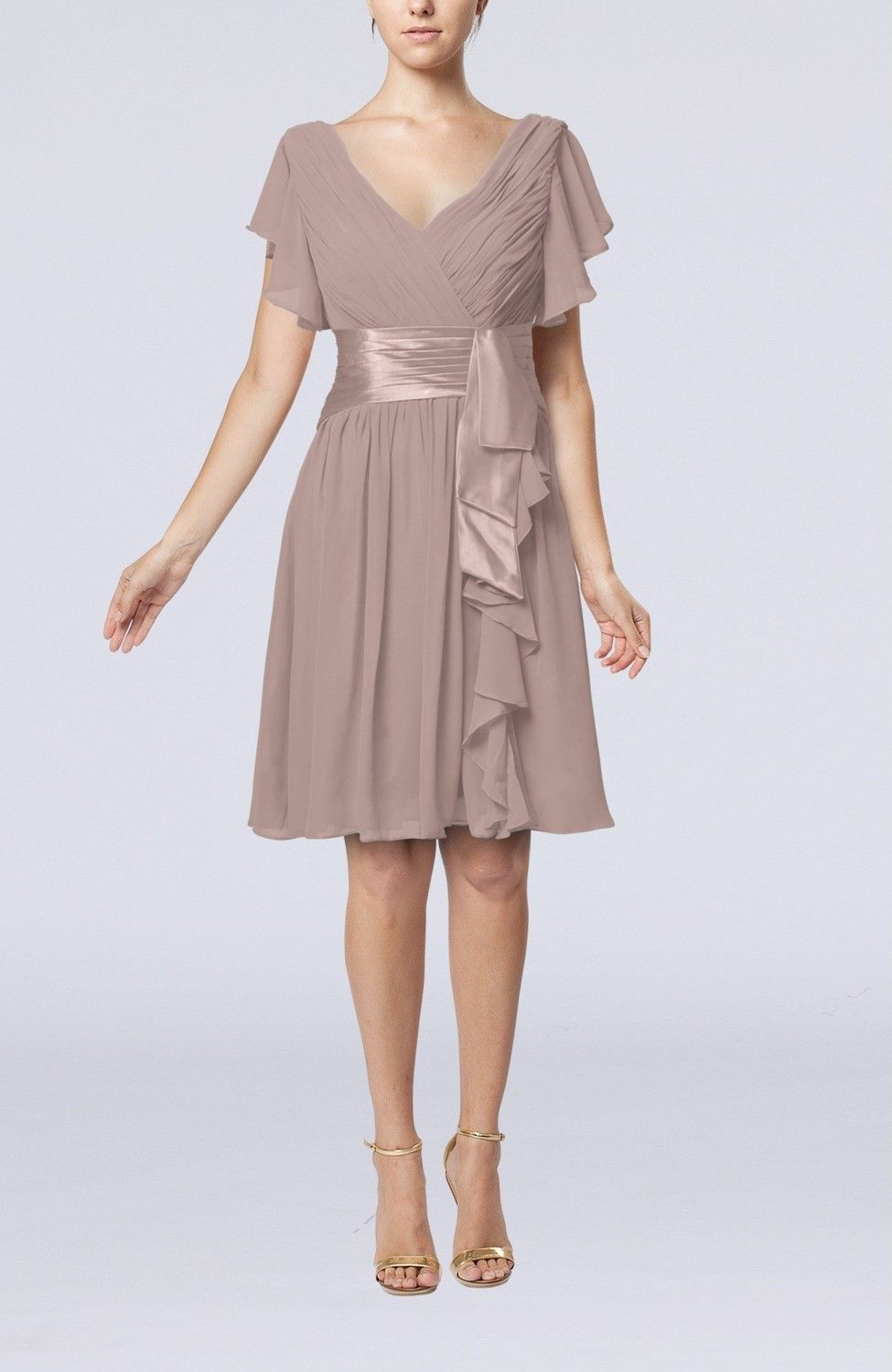 Mid length dresses for wedding guests  Fawn Guest Dress  Romantic Short Sleeve Zip up Knee Length Short