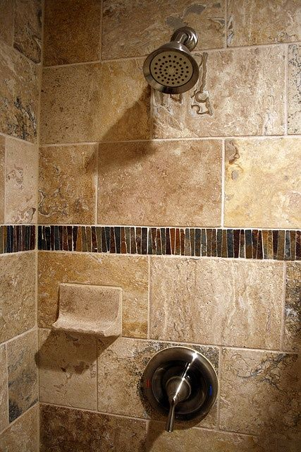 slate glass and travertine tile all in one shower