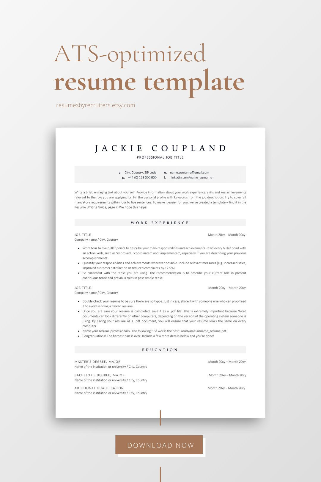 Executive ATS Resume Template for Corporate Jobs Instant