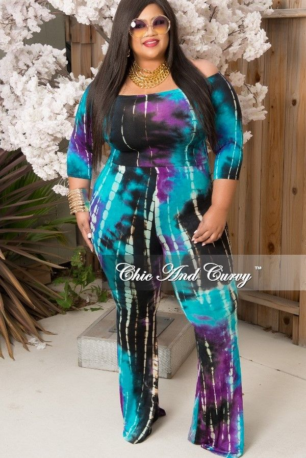 8cc33f5f635 Plus Size 2 Piece Crop Top and Pant Set in Tie Dye Turquoise – Chic And  Curvy