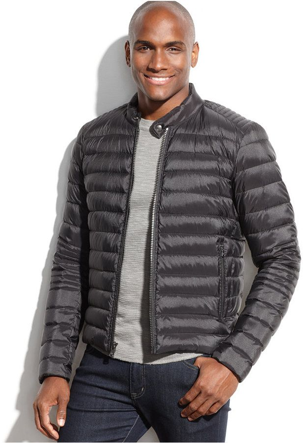 MICHAEL Michael Kors Clifton Quilted Down Moto Jacket, MICHAEL Michael Kors combines the stylish look of a moto jacket with the warmth of down filling to form this must-have cold-weather layer.