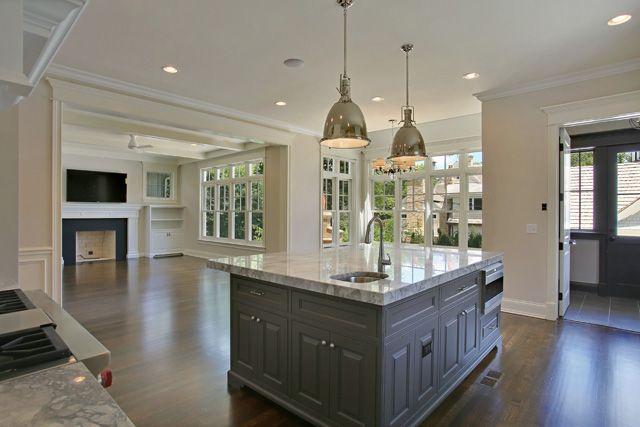 Open Floor Plan Living Room And Kitchen Gray
