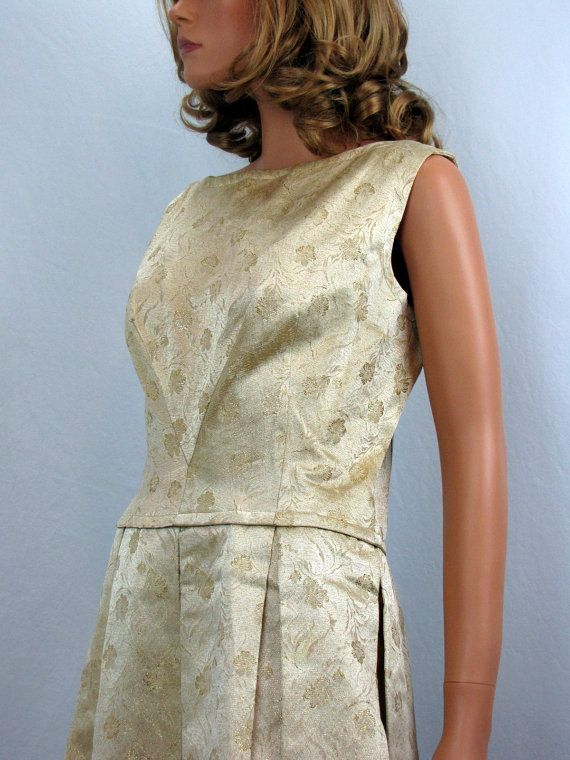 Vintage Gold Metallic Brocade Cocktail Dress by by OsoVictoria, $68.00 size medium