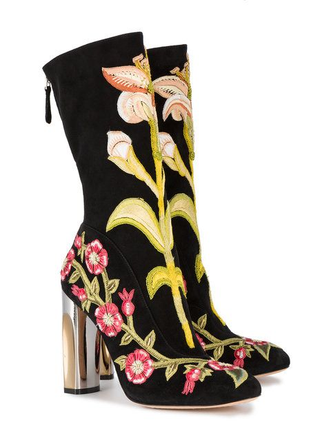 Alexander McQueenMedieval Embroidered boots with Bicolour Sculpted Heel OqoA1Heq