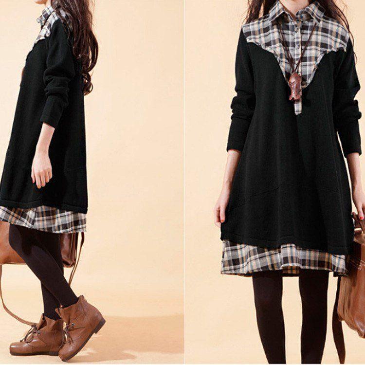 Sweater - Women's Plaid Stitching Cotton Long Sweater