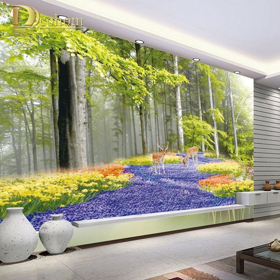 Scenery Wallpaper For Bedroom Custom Photo Wallpaper Idyllic Natural Scenery Flowers Living Room
