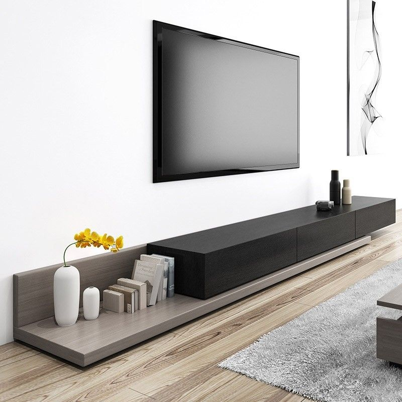 Kayla Wood Black and Gray Adjustable TV Stand Console with Storage