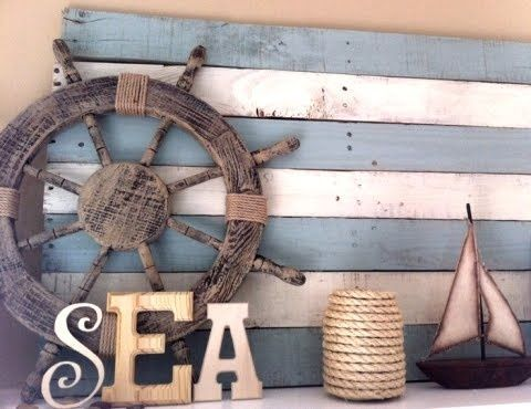 My Summer Lake Themed Mantel The Turquoise Home Nautical Decor Pallet Decor Coastal Decor