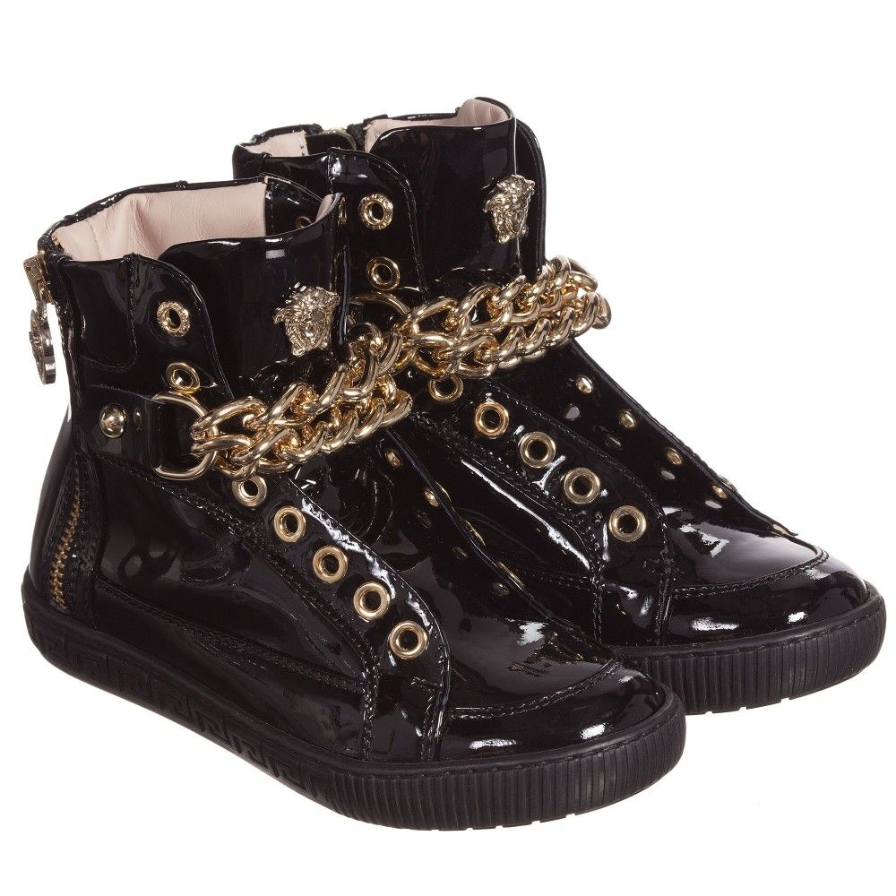 Leather high tops, Black patent leather