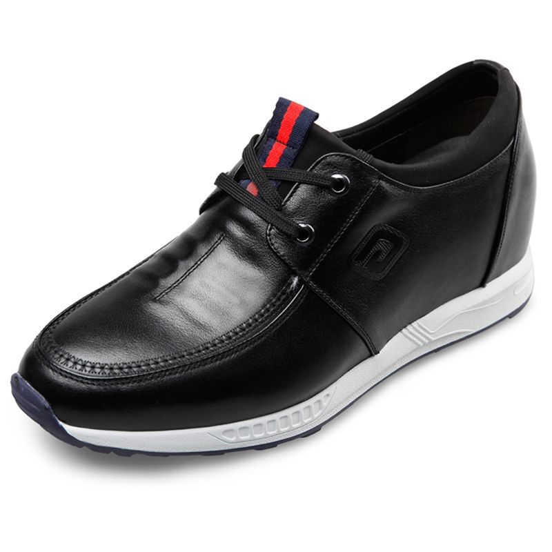 TopoutShoes - 3.2inch taller campus shoes black lace up elevator casual shoes - MEN_00536_01