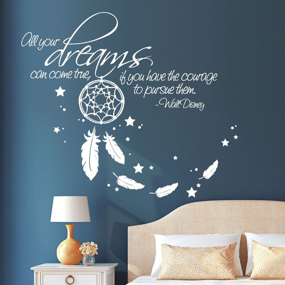 """11001 Wall tattoo """"All your dreams"""" Saying Addage Disney dreams catcher Spring"""