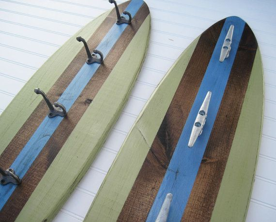 Green And Blue Large Wood Surfboard Coat Rack Home DIY Projects Best Surfboard Coat Rack