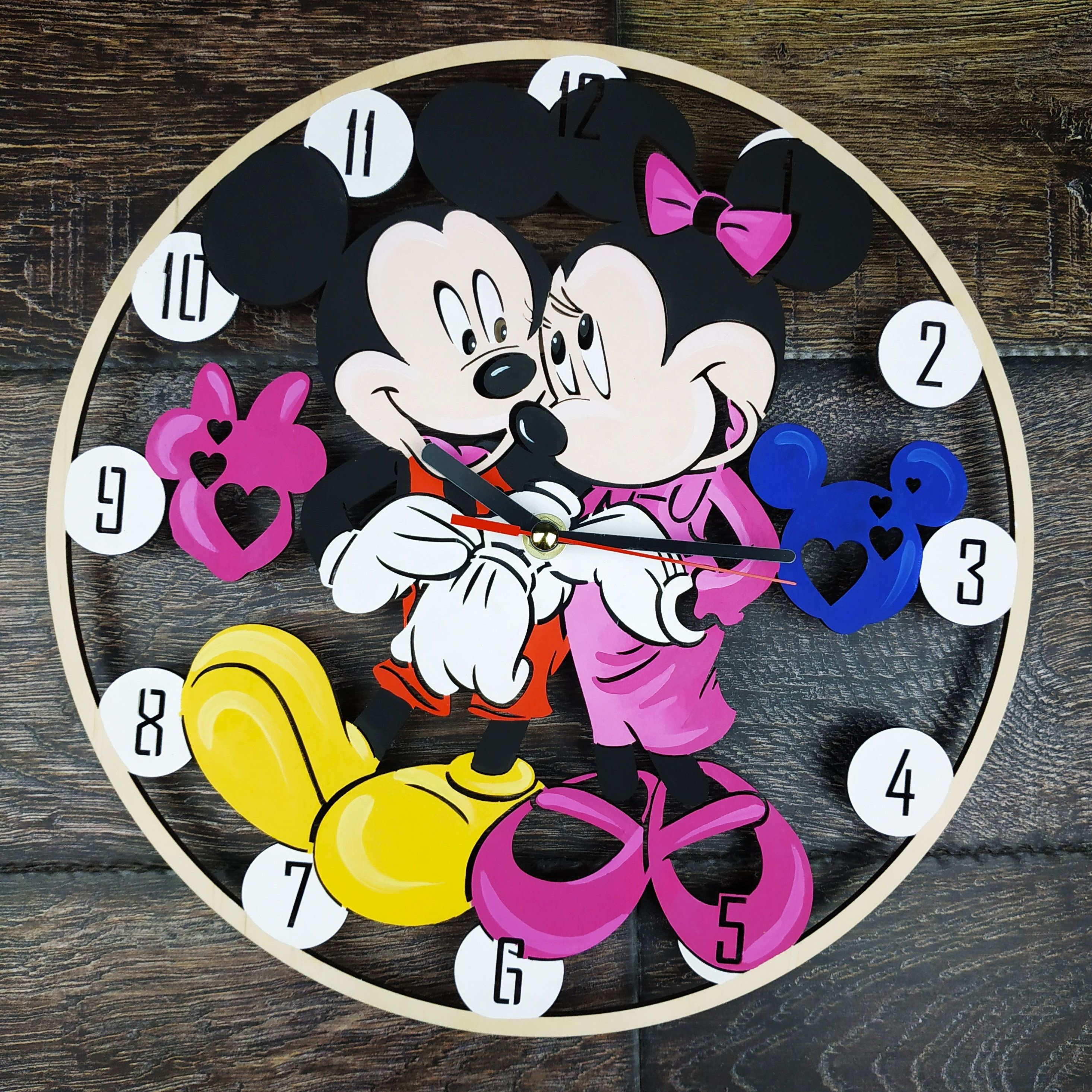 Mickey Minnie Mouse Wall Clock Wood Decor Art Gifts Woman Girl Kids Friend Home Room Bedroom Kitchen Birt Wood Wall Clock Handmade Wall Clocks Clock For Kids